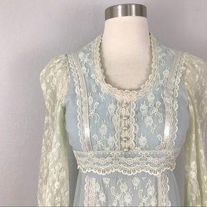 Gunne Sax Jessica Dress 5 XS Blue Ivory Lace